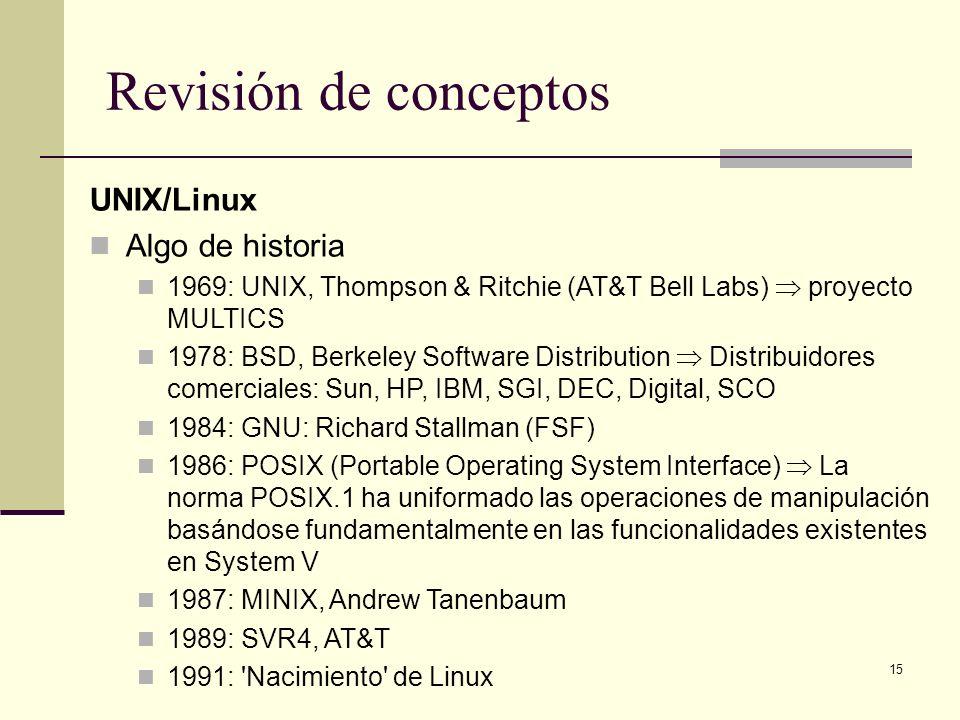 15 Revisión de conceptos UNIX/Linux Algo de historia 1969: UNIX, Thompson & Ritchie (AT&T Bell Labs) proyecto MULTICS 1978: BSD, Berkeley Software Distribution Distribuidores comerciales: Sun, HP, IBM, SGI, DEC, Digital, SCO 1984: GNU: Richard Stallman (FSF) 1986: POSIX (Portable Operating System Interface) La norma POSIX.1 ha uniformado las operaciones de manipulación basándose fundamentalmente en las funcionalidades existentes en System V 1987: MINIX, Andrew Tanenbaum 1989: SVR4, AT&T 1991: Nacimiento de Linux
