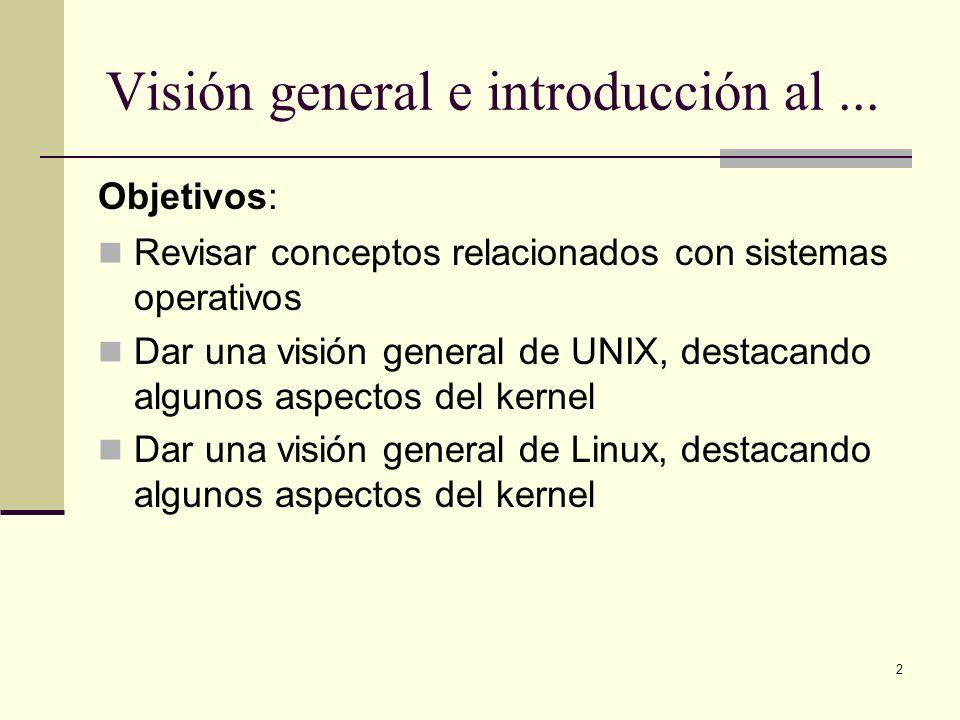 2 Visión general e introducción al... Objetivos: Revisar conceptos relacionados con sistemas operativos Dar una visión general de UNIX, destacando alg