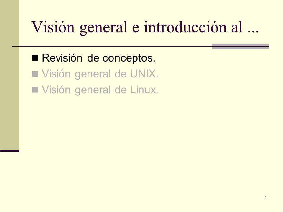 3 Visión general e introducción al... Revisión de conceptos. Visión general de UNIX. Visión general de Linux.