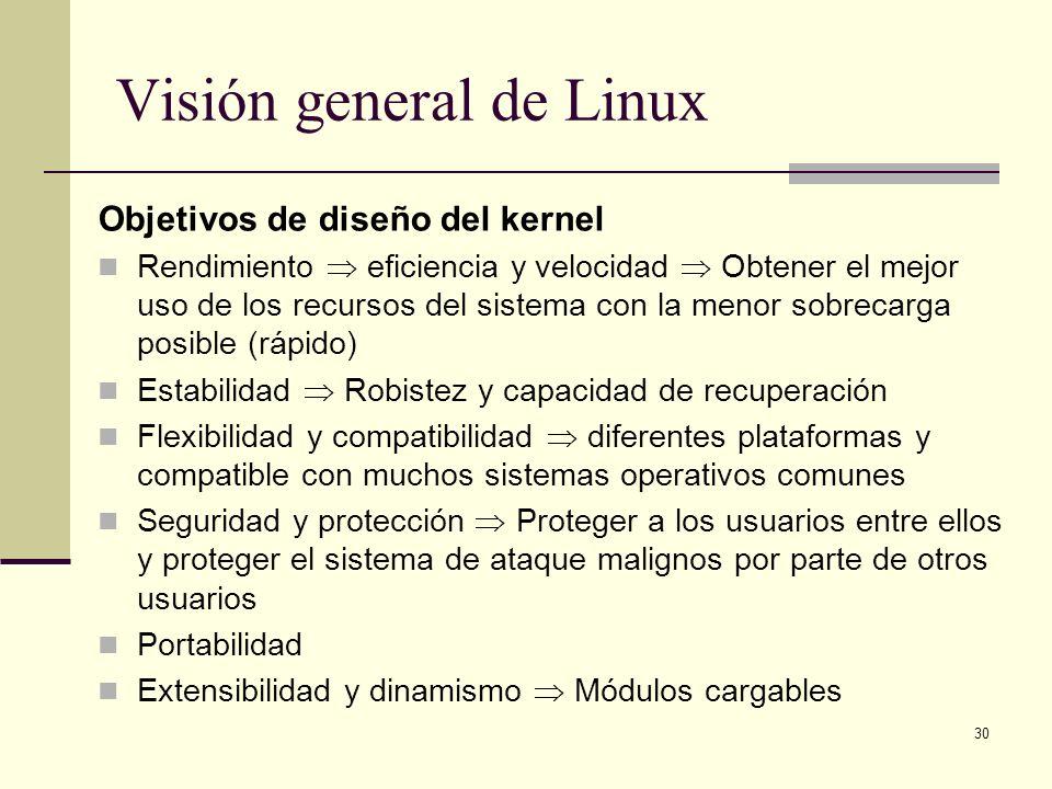 30 Visión general de Linux Objetivos de diseño del kernel Rendimiento eficiencia y velocidad Obtener el mejor uso de los recursos del sistema con la m