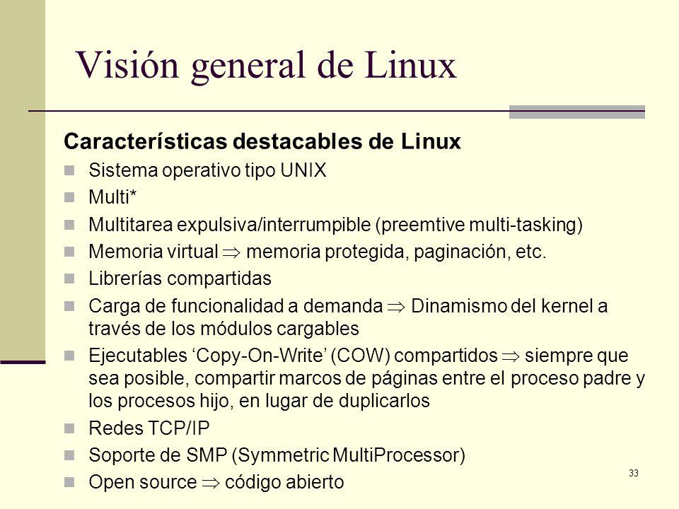 33 Visión general de Linux Características destacables de Linux Sistema operativo tipo UNIX Multi* Multitarea expulsiva/interrumpible (preemtive multi