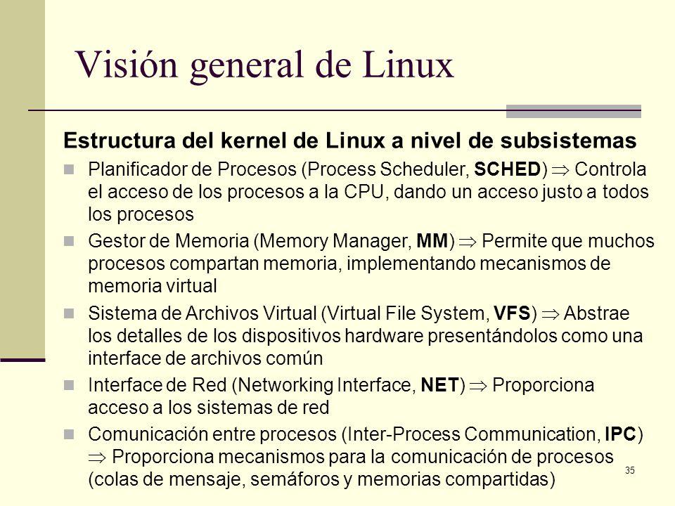 35 Visión general de Linux Estructura del kernel de Linux a nivel de subsistemas Planificador de Procesos (Process Scheduler, SCHED) Controla el acceso de los procesos a la CPU, dando un acceso justo a todos los procesos Gestor de Memoria (Memory Manager, MM) Permite que muchos procesos compartan memoria, implementando mecanismos de memoria virtual Sistema de Archivos Virtual (Virtual File System, VFS) Abstrae los detalles de los dispositivos hardware presentándolos como una interface de archivos común Interface de Red (Networking Interface, NET) Proporciona acceso a los sistemas de red Comunicación entre procesos (Inter-Process Communication, IPC) Proporciona mecanismos para la comunicación de procesos (colas de mensaje, semáforos y memorias compartidas)