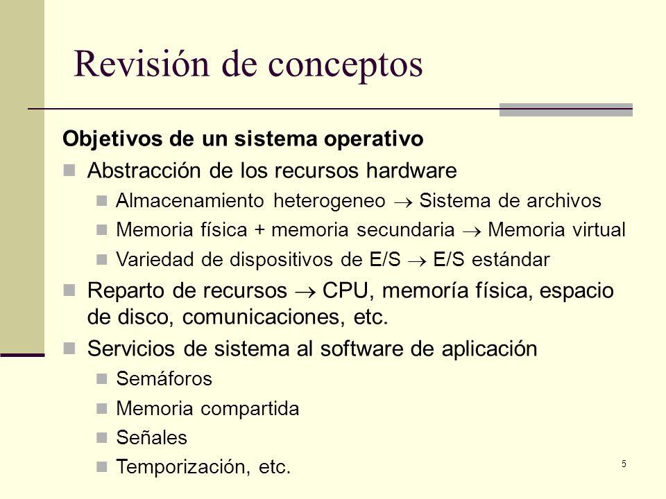 5 Revisión de conceptos Objetivos de un sistema operativo Abstracción de los recursos hardware Almacenamiento heterogeneo Sistema de archivos Memoria física + memoria secundaria Memoria virtual Variedad de dispositivos de E/S E/S estándar Reparto de recursos CPU, memoría física, espacio de disco, comunicaciones, etc.
