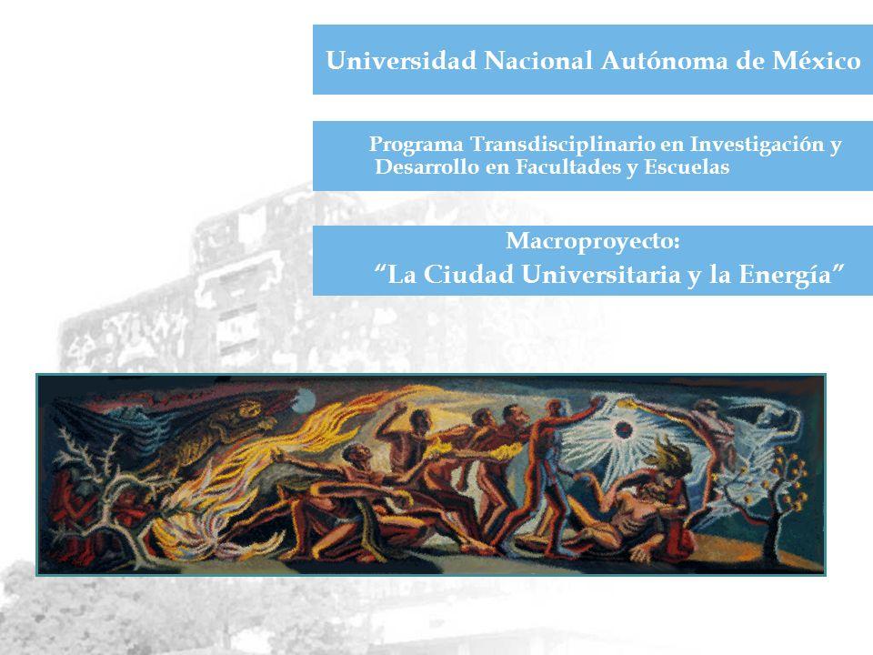 Universidad Nacional Autónoma de México Programa Transdisciplinario en Investigación y Desarrollo en Facultades y Escuelas Macroproyecto: La Ciudad Universitaria y la Energía