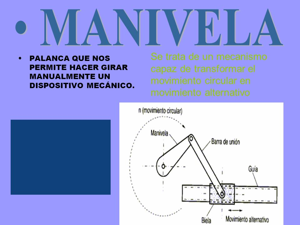 PALANCA QUE NOS PERMITE HACER GIRAR MANUALMENTE UN DISPOSITIVO MECÁNICO. Se trata de un mecanismo capaz de transformar el movimiento circular en movim