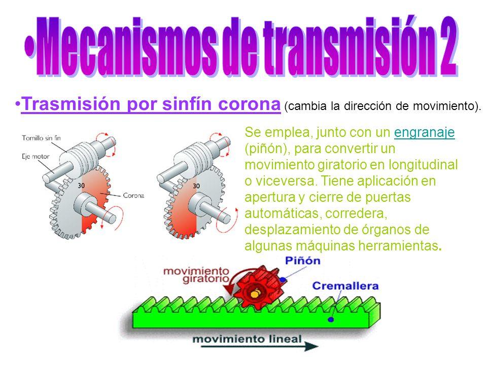 Trasmisión por sinfín corona (cambia la dirección de movimiento). Se emplea, junto con un engranaje (piñón), para convertir un movimiento giratorio en