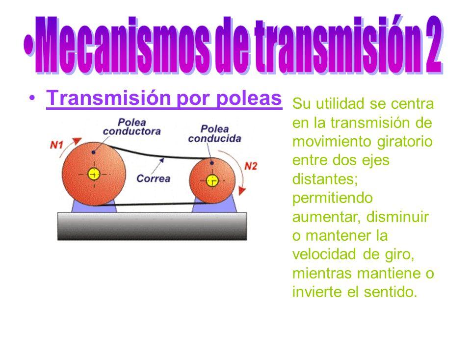 Transmisión por poleas Su utilidad se centra en la transmisión de movimiento giratorio entre dos ejes distantes; permitiendo aumentar, disminuir o man