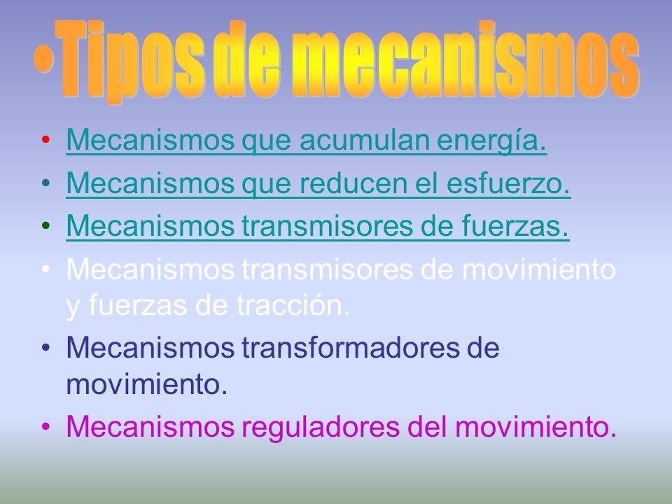 Mecanismos que acumulan energía. Mecanismos que reducen el esfuerzo. Mecanismos transmisores de fuerzas. Mecanismos transmisores de movimiento y fuerz