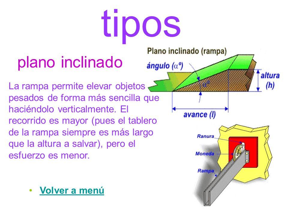 tipos plano inclinado La rampa permite elevar objetos pesados de forma más sencilla que haciéndolo verticalmente. El recorrido es mayor (pues el table