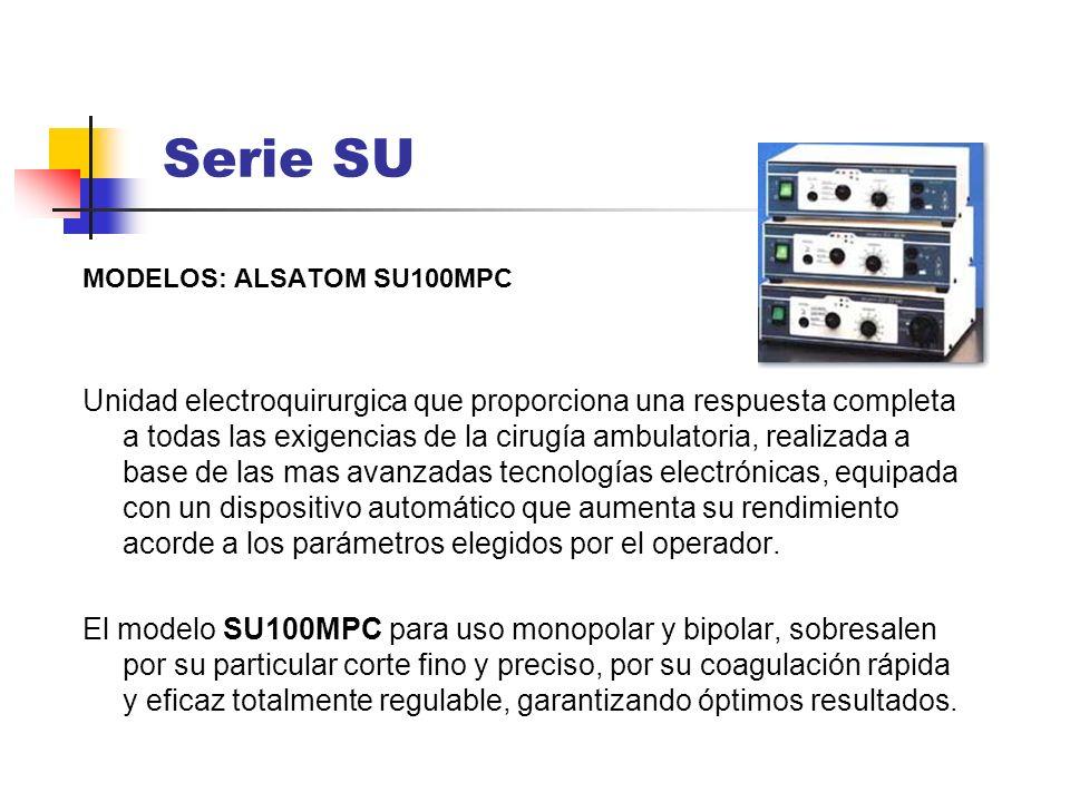 MODELOS: ALSATOM SU100MPC Unidad electroquirurgica que proporciona una respuesta completa a todas las exigencias de la cirugía ambulatoria, realizada