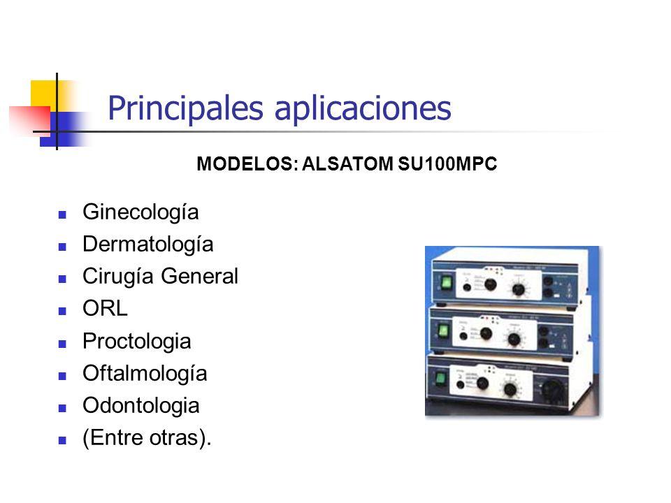 Principales aplicaciones Ginecología Dermatología Cirugía General ORL Proctologia Oftalmología Odontologia (Entre otras). MODELOS: ALSATOM SU100MPC