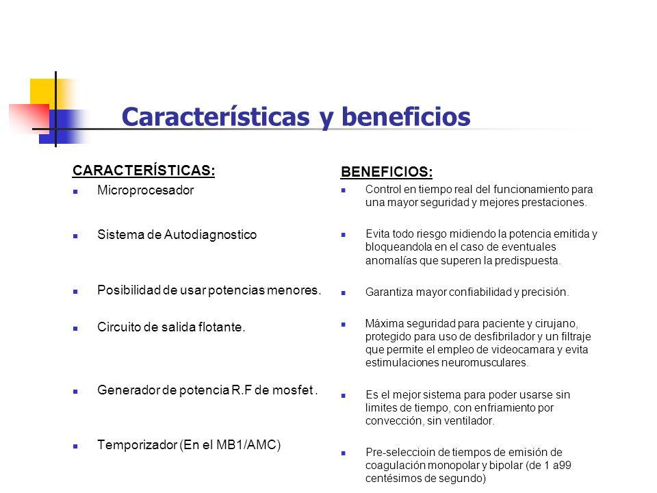 Características y beneficios CARACTERÍSTICAS: Microprocesador Sistema de Autodiagnostico Posibilidad de usar potencias menores. Circuito de salida flo