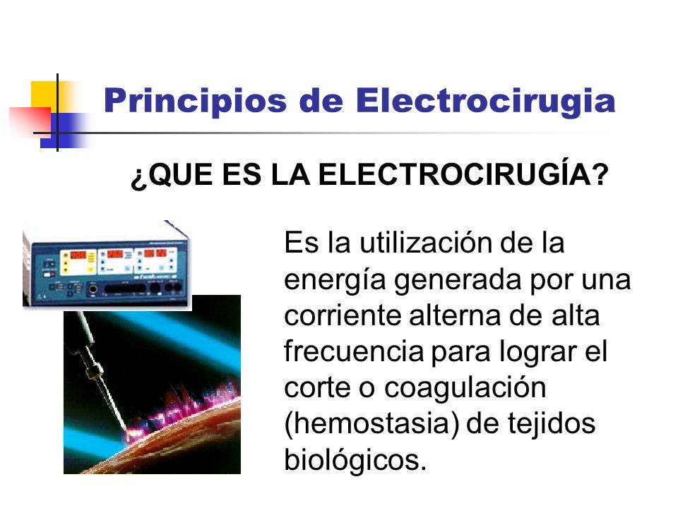 ¿QUE ES LA ELECTROCIRUGÍA? Es la utilización de la energía generada por una corriente alterna de alta frecuencia para lograr el corte o coagulación (h