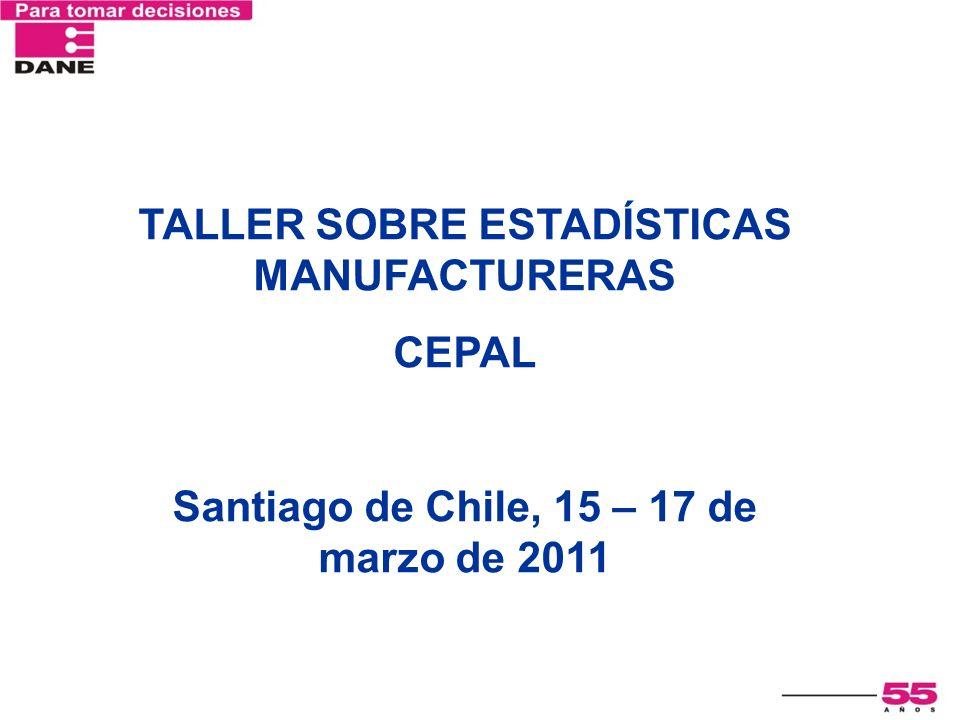 TALLER SOBRE ESTADÍSTICAS MANUFACTURERAS CEPAL Santiago de Chile, 15 – 17 de marzo de 2011