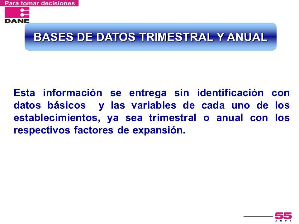 Esta información se entrega sin identificación con datos básicos y las variables de cada uno de los establecimientos, ya sea trimestral o anual con lo