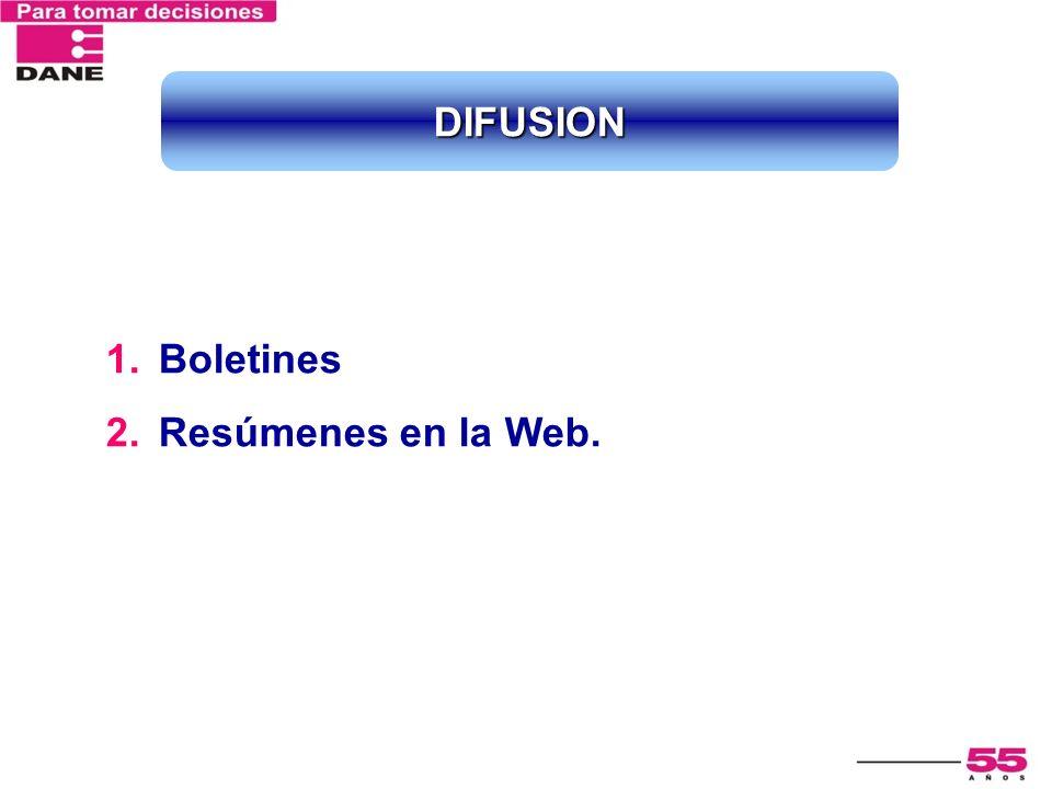 1.Boletines 2.Resúmenes en la Web. DIFUSION