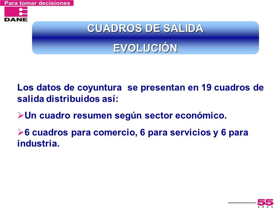 Los datos de coyuntura se presentan en 19 cuadros de salida distribuidos así: Un cuadro resumen según sector económico. 6 cuadros para comercio, 6 par