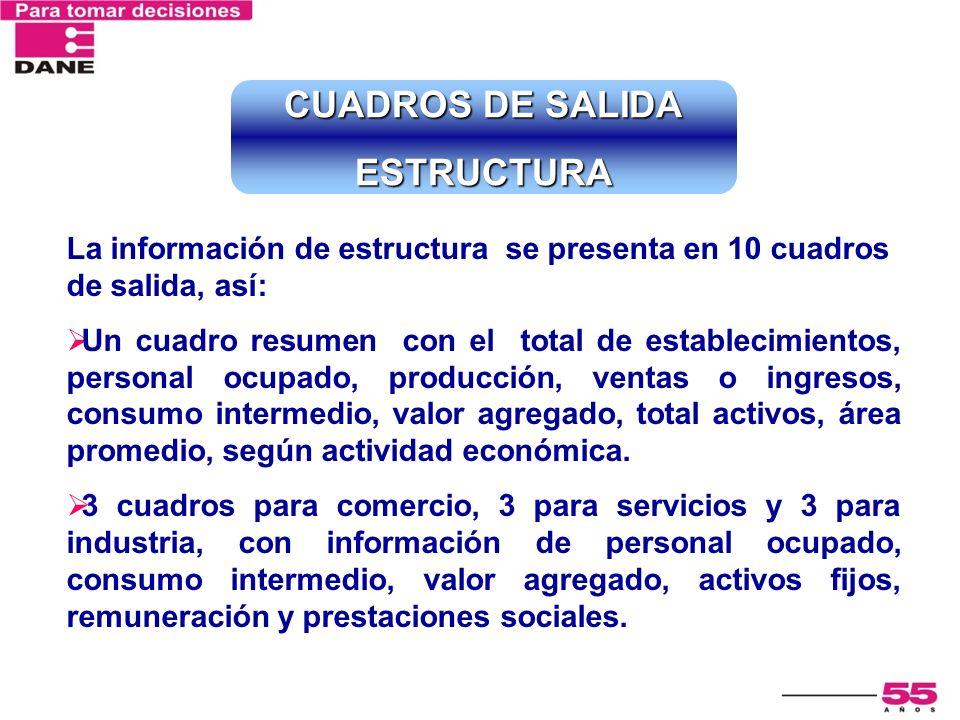 La información de estructura se presenta en 10 cuadros de salida, así: Un cuadro resumen con el total de establecimientos, personal ocupado, producció