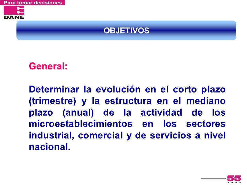 General: Determinar la evolución en el corto plazo (trimestre) y la estructura en el mediano plazo (anual) de la actividad de los microestablecimiento
