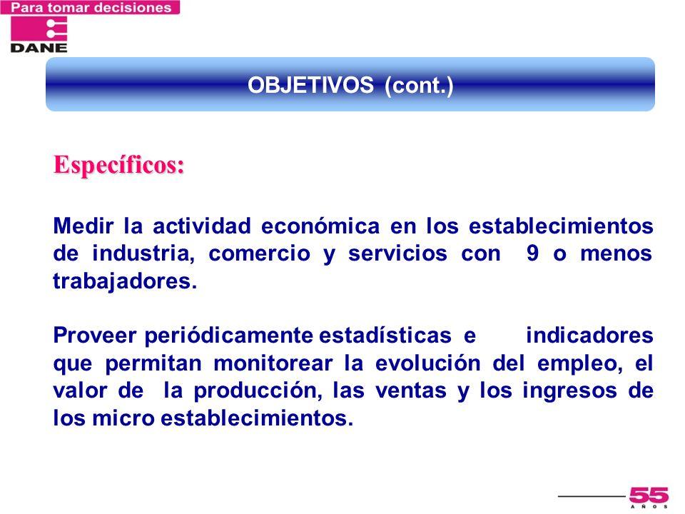 Específicos: Medir la actividad económica en los establecimientos de industria, comercio y servicios con 9 o menos trabajadores. Proveer periódicament