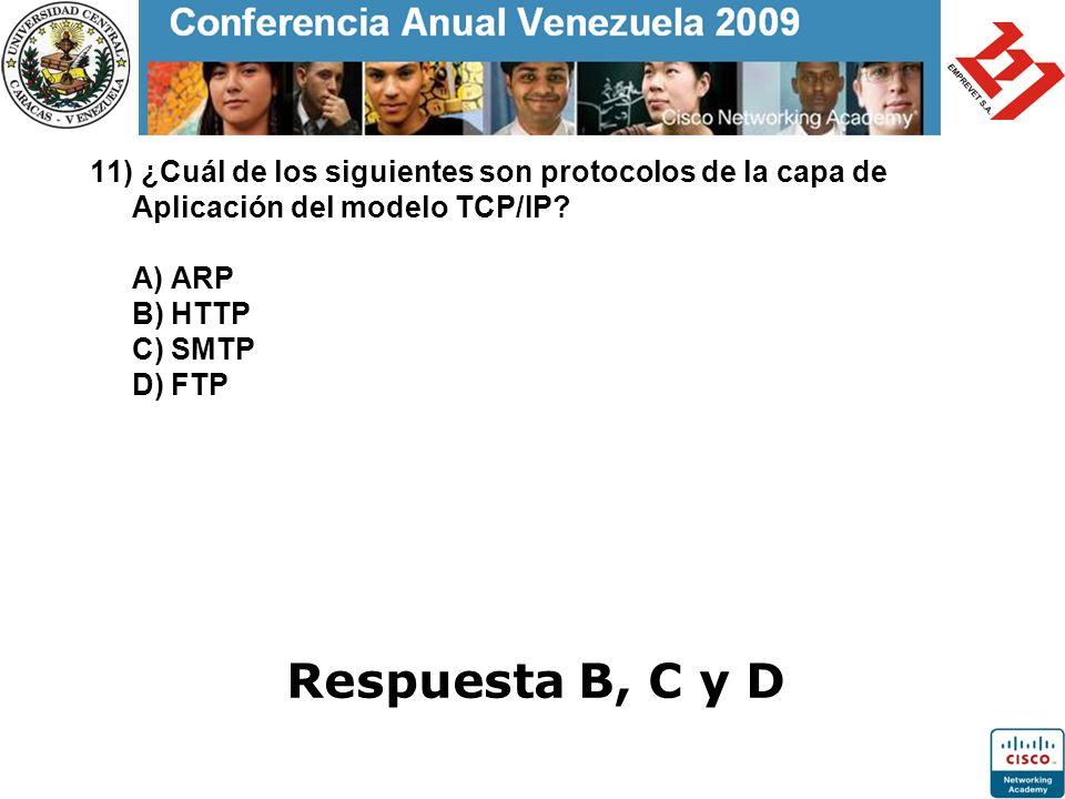 11) ¿Cuál de los siguientes son protocolos de la capa de Aplicación del modelo TCP/IP? A) ARP B) HTTP C) SMTP D) FTP Respuesta B, C y D