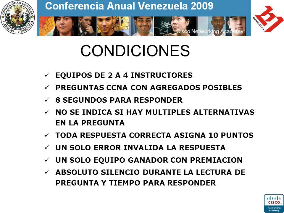 CONDICIONES EQUIPOS DE 2 A 4 INSTRUCTORES PREGUNTAS CCNA CON AGREGADOS POSIBLES 8 SEGUNDOS PARA RESPONDER NO SE INDICA SI HAY MULTIPLES ALTERNATIVAS E
