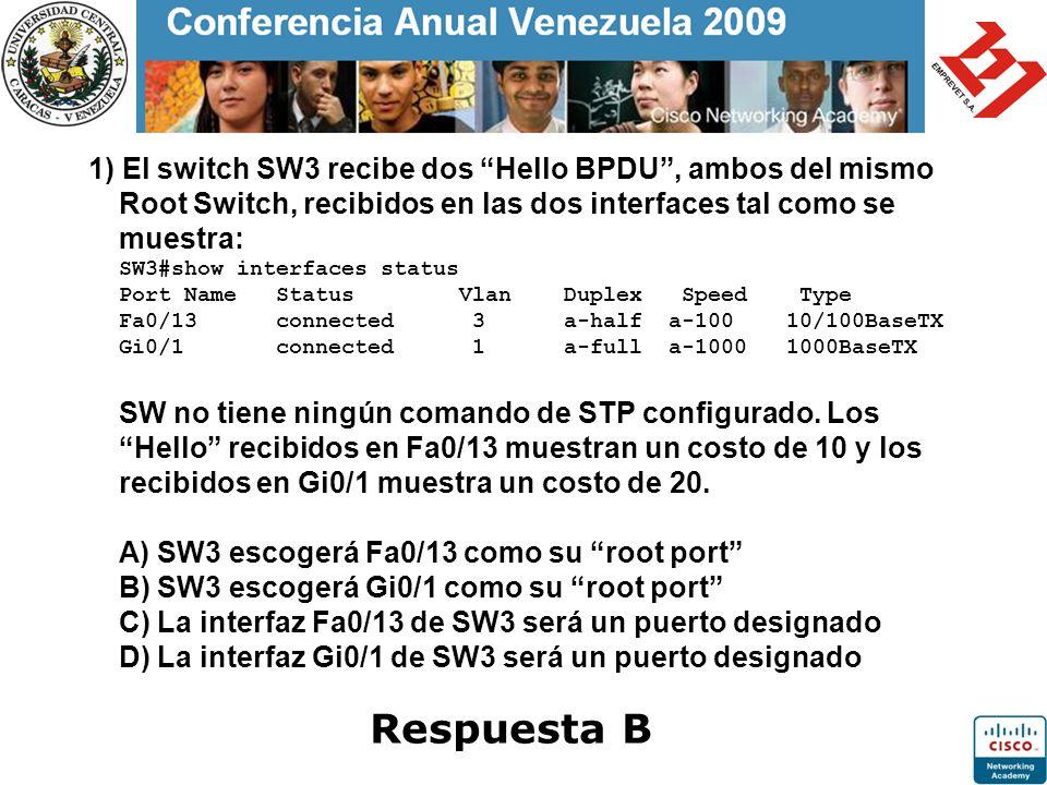 1) El switch SW3 recibe dos Hello BPDU, ambos del mismo Root Switch, recibidos en las dos interfaces tal como se muestra: SW3#show interfaces status P