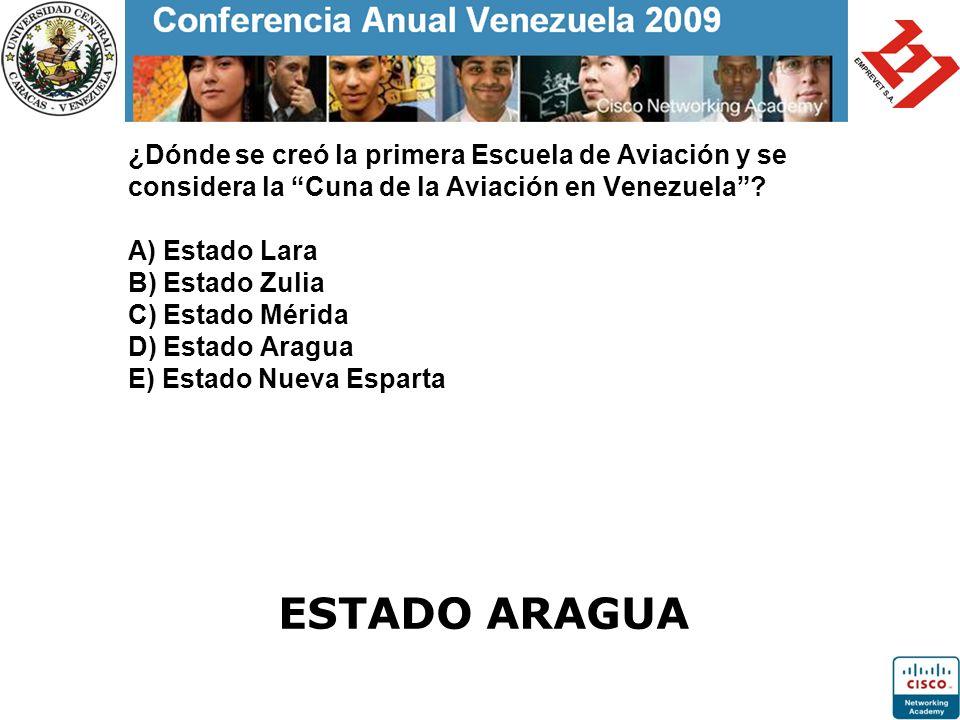 ¿Dónde se creó la primera Escuela de Aviación y se considera la Cuna de la Aviación en Venezuela? A) Estado Lara B) Estado Zulia C) Estado Mérida D) E
