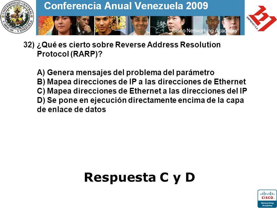 32) ¿Qué es cierto sobre Reverse Address Resolution Protocol (RARP)? A) Genera mensajes del problema del parámetro B) Mapea direcciones de IP a las di