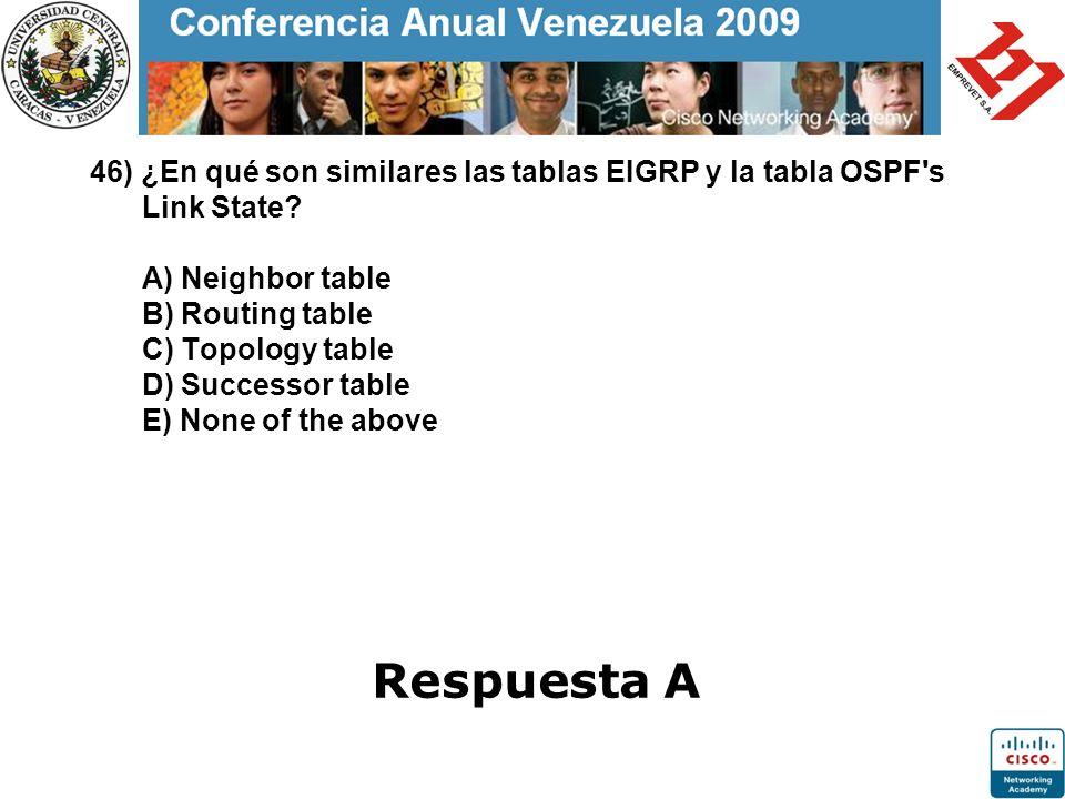 46) ¿En qué son similares las tablas EIGRP y la tabla OSPF's Link State? A) Neighbor table B) Routing table C) Topology table D) Successor table E) No