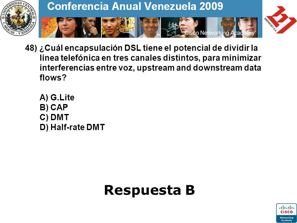 48) ¿Cuál encapsulación DSL tiene el potencial de dividir la línea telefónica en tres canales distintos, para minimizar interferencias entre voz, upst