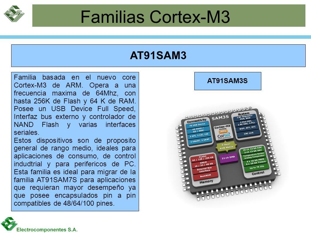 Familias Cortex-M3 AT91SAM3 AT91SAM3S Familia basada en el nuevo core Cortex-M3 de ARM. Opera a una frecuencia maxima de 64Mhz, con hasta 256K de Flas