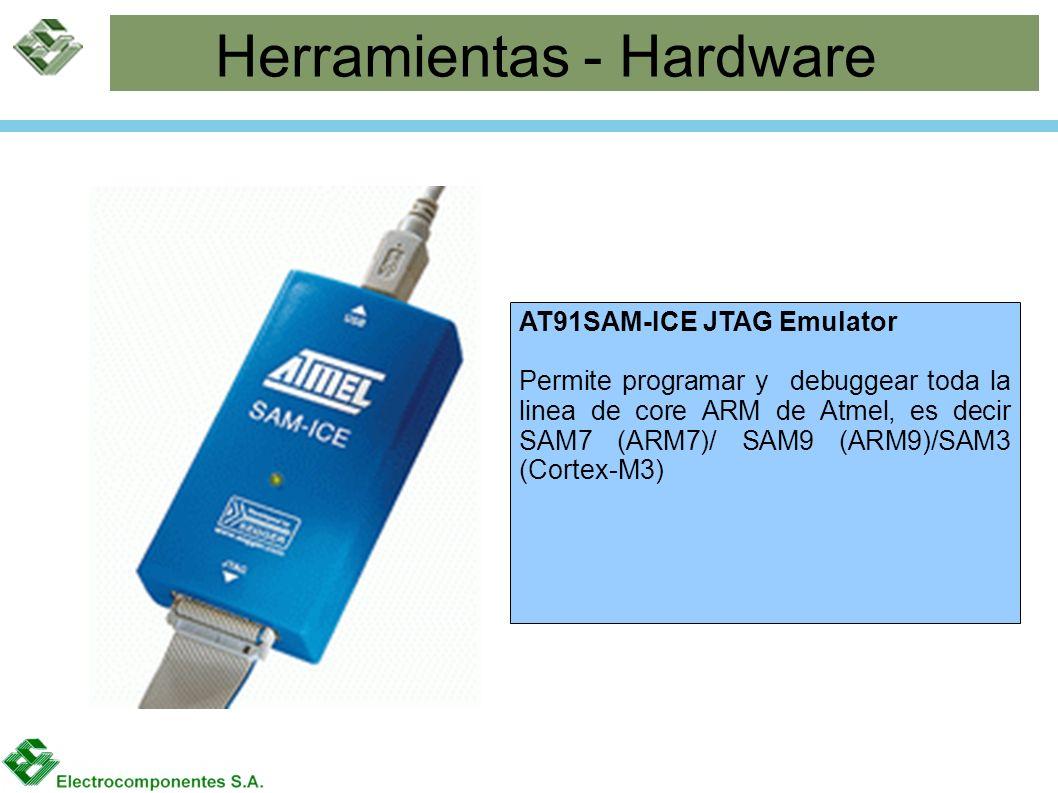 Herramientas - Hardware AT91SAM-ICE JTAG Emulator Permite programar y debuggear toda la linea de core ARM de Atmel, es decir SAM7 (ARM7)/ SAM9 (ARM9)/