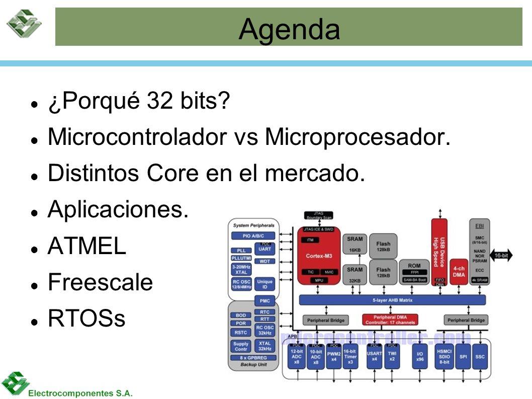 Agenda ¿Porqué 32 bits? Microcontrolador vs Microprocesador. Distintos Core en el mercado. Aplicaciones. ATMEL Freescale RTOSs