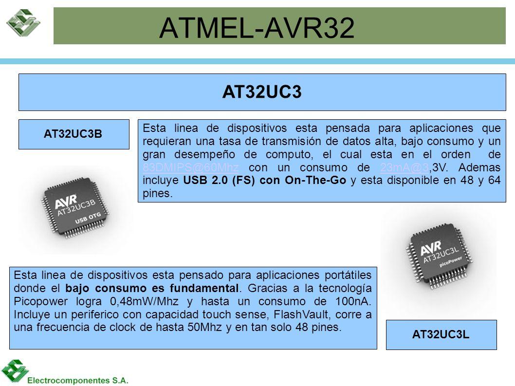 ATMEL-AVR32 AT32UC3 AT32UC3B AT32UC3L Esta linea de dispositivos esta pensado para aplicaciones portátiles donde el bajo consumo es fundamental. Graci