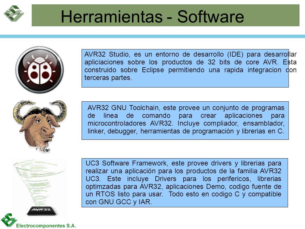 Herramientas - Software UC3 Software Framework, este provee drivers y librerias para realizar una aplicación para los productos de la familia AVR32 UC