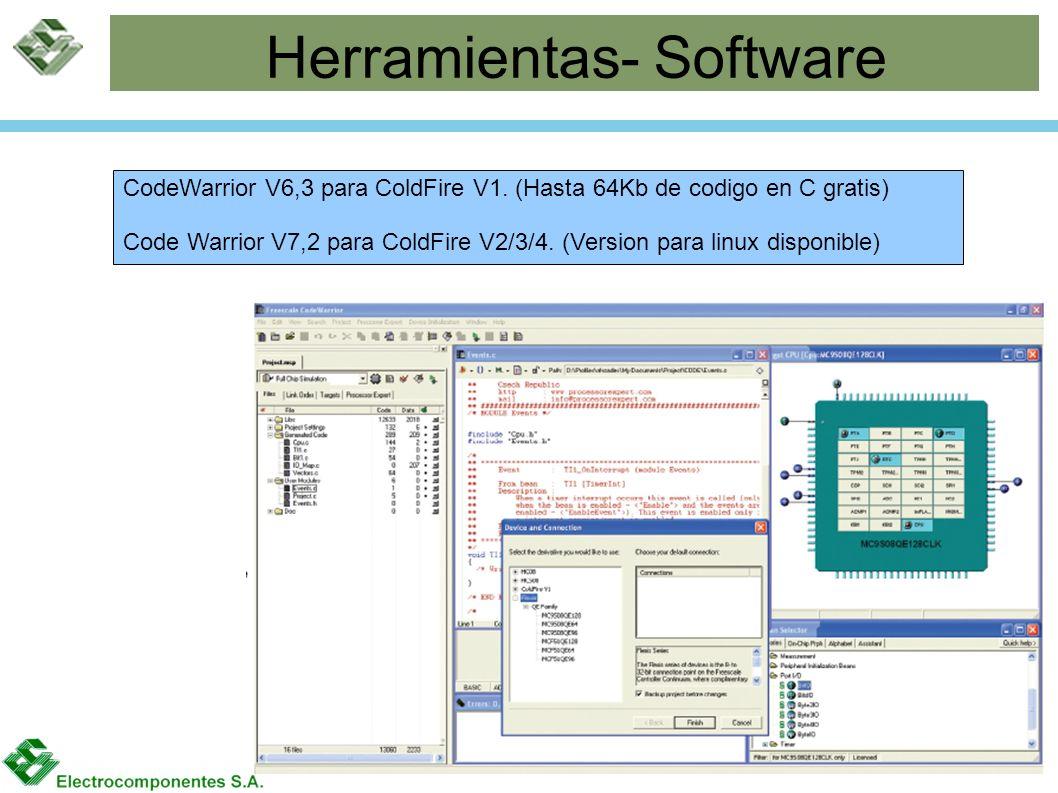 Herramientas- Software CodeWarrior V6,3 para ColdFire V1. (Hasta 64Kb de codigo en C gratis) Code Warrior V7,2 para ColdFire V2/3/4. (Version para lin