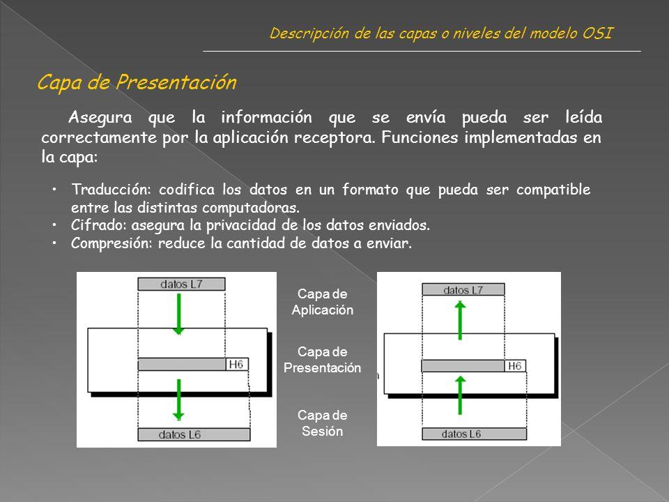 Capa de Presentación Descripción de las capas o niveles del modelo OSI Asegura que la información que se envía pueda ser leída correctamente por la aplicación receptora.