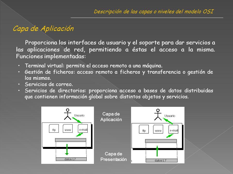Capa de Aplicación Descripción de las capas o niveles del modelo OSI Proporciona los interfaces de usuario y el soporte para dar servicios a las aplicaciones de red, permitiendo a éstas el acceso a la misma.