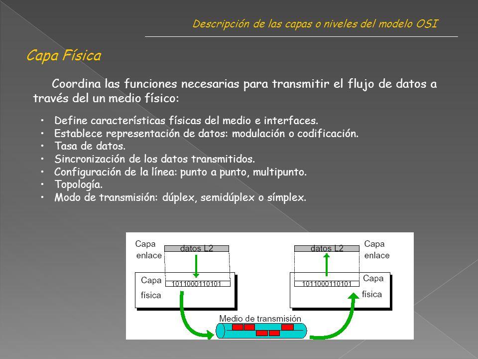 Capa Física Coordina las funciones necesarias para transmitir el flujo de datos a través del un medio físico: Define características físicas del medio e interfaces.