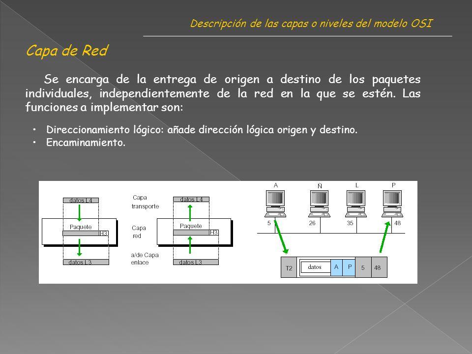 Capa de Red Descripción de las capas o niveles del modelo OSI Se encarga de la entrega de origen a destino de los paquetes individuales, independientemente de la red en la que se estén.