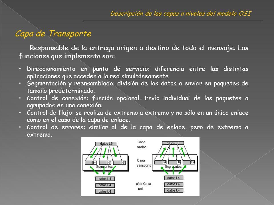 Capa de Transporte Descripción de las capas o niveles del modelo OSI Responsable de la entrega origen a destino de todo el mensaje.