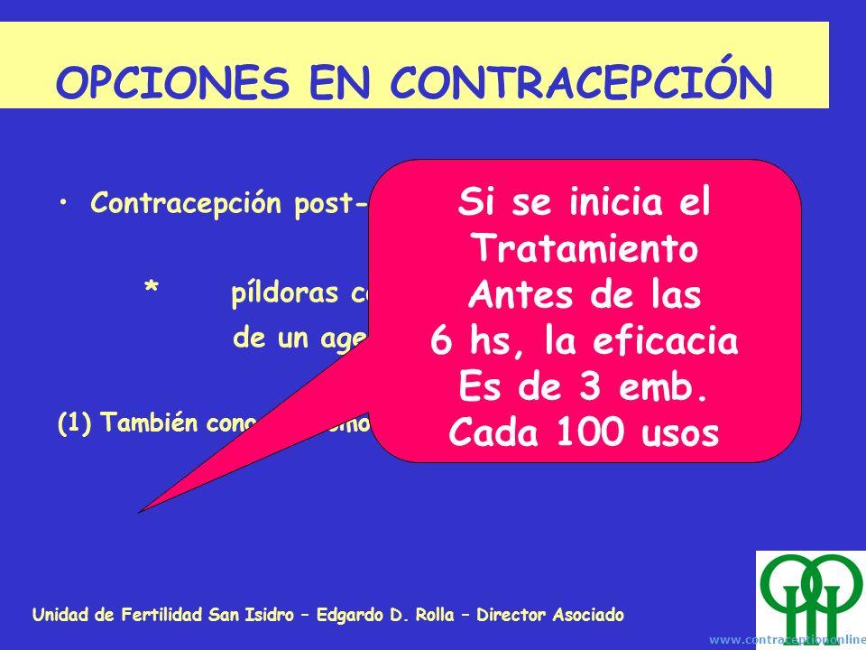 Unidad de Fertilidad San Isidro – Edgardo D. Rolla – Director Asociado OPCIONES EN CONTRACEPCIÓN Contracepción post-coital (1): *píldoras conteniendo