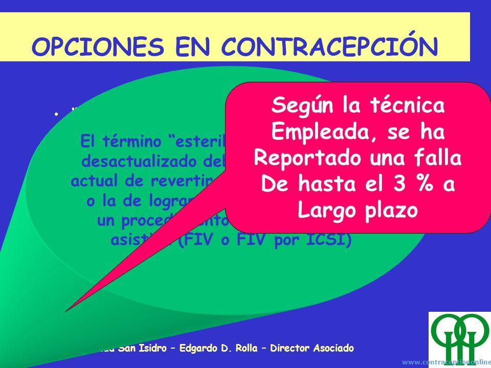 Unidad de Fertilidad San Isidro – Edgardo D. Rolla – Director Asociado OPCIONES EN CONTRACEPCIÓN Esterilización quirúrgica o mecánica: Ligadura tubari