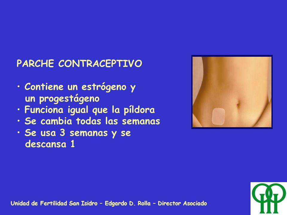 Unidad de Fertilidad San Isidro – Edgardo D. Rolla – Director Asociado PARCHE CONTRACEPTIVO Contiene un estrógeno y un progestágeno Funciona igual que