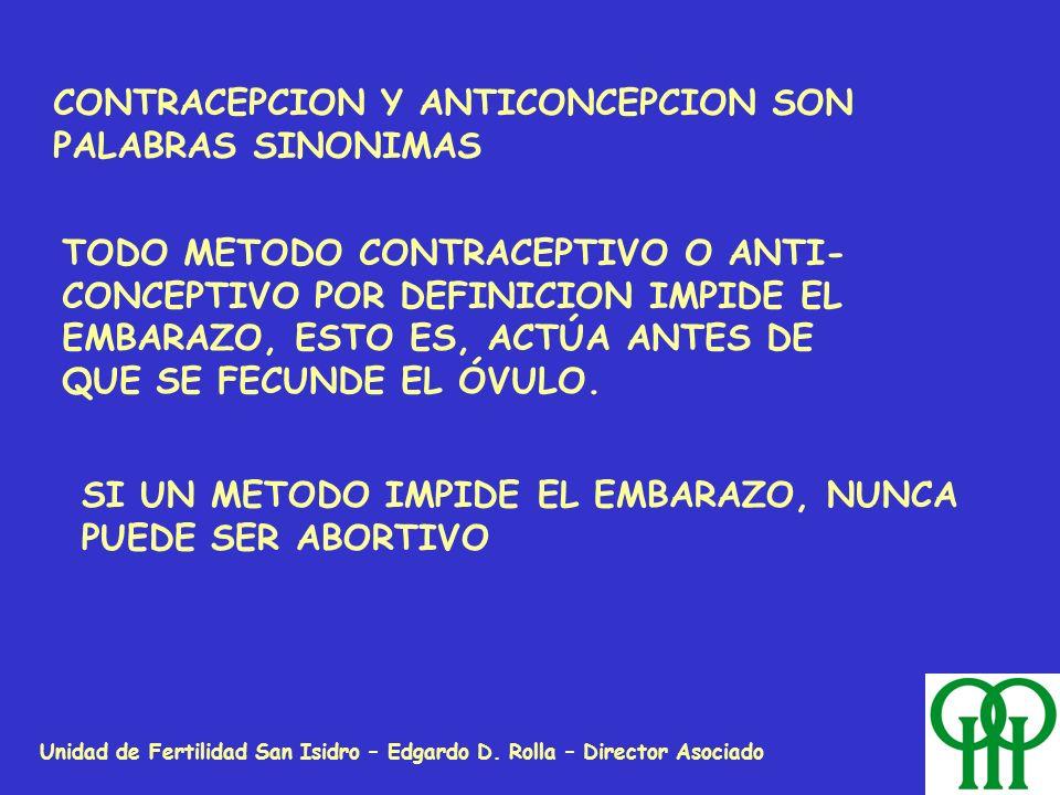 Unidad de Fertilidad San Isidro – Edgardo D. Rolla – Director Asociado CONTRACEPCION Y ANTICONCEPCION SON PALABRAS SINONIMAS TODO METODO CONTRACEPTIVO