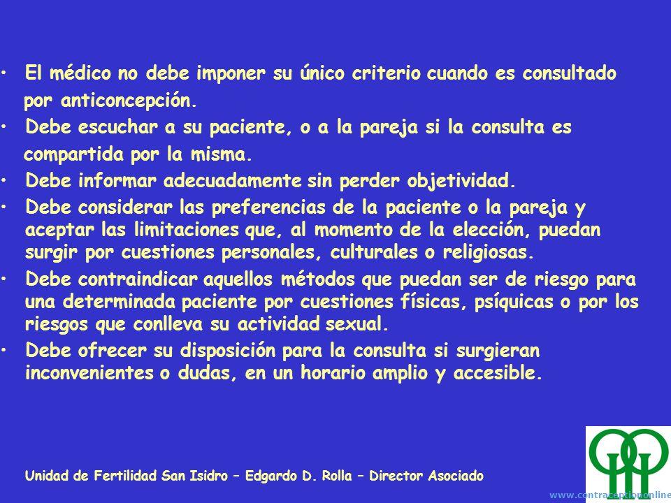 Unidad de Fertilidad San Isidro – Edgardo D. Rolla – Director Asociado El médico no debe imponer su único criterio cuando es consultado por anticoncep