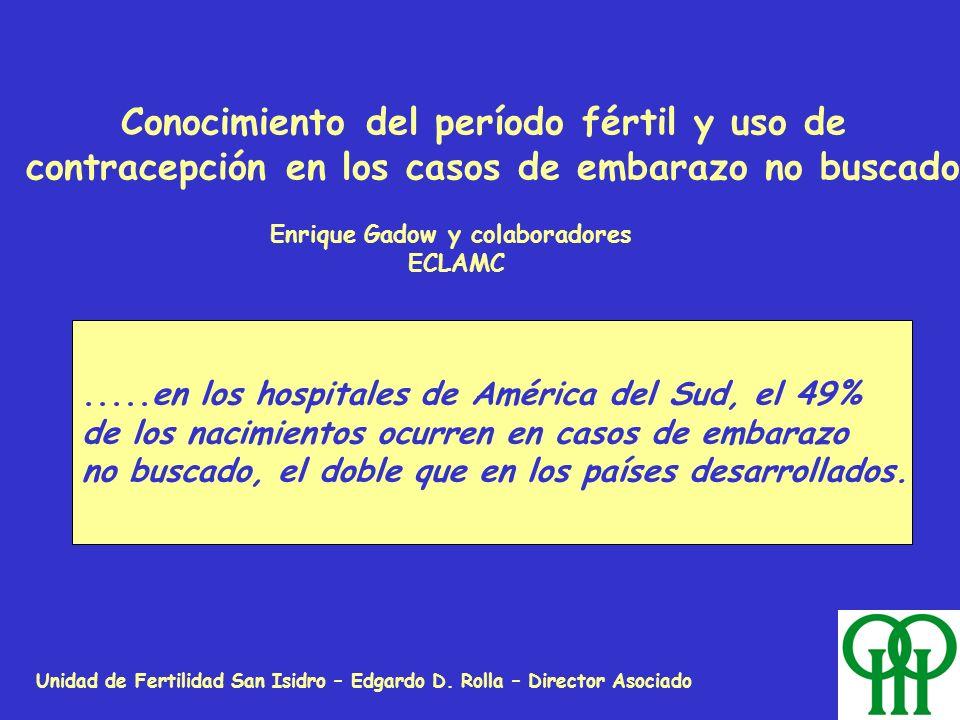 Unidad de Fertilidad San Isidro – Edgardo D. Rolla – Director Asociado Conocimiento del período fértil y uso de contracepción en los casos de embarazo