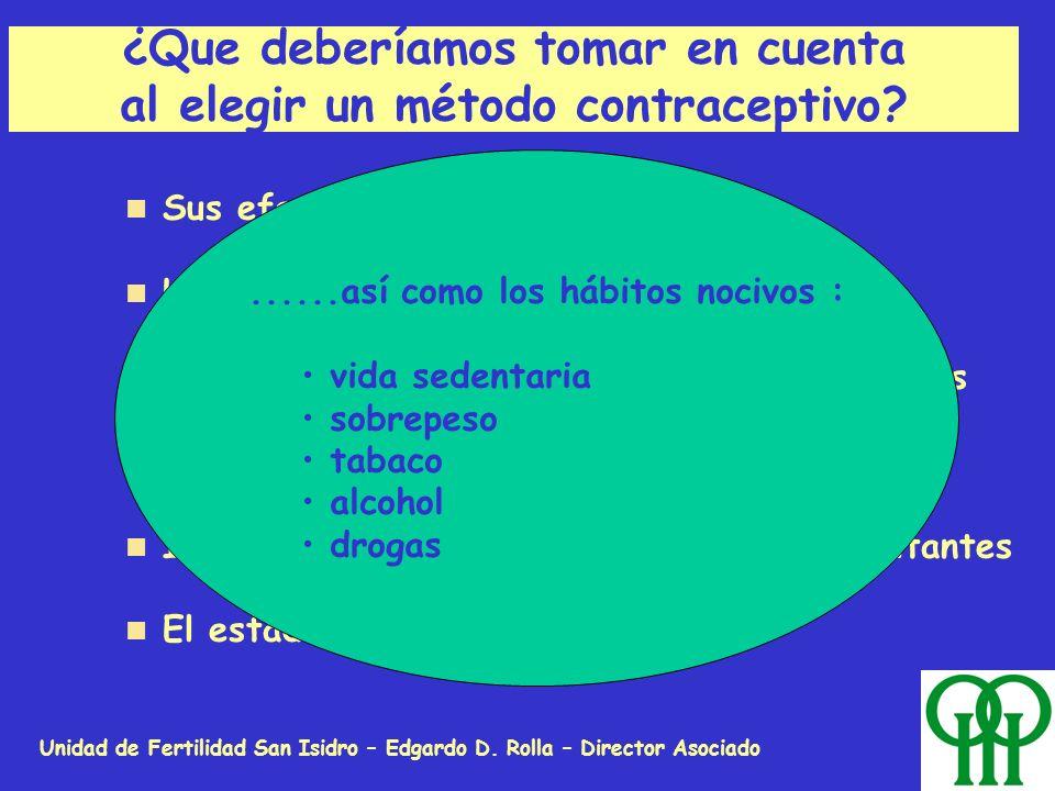 Unidad de Fertilidad San Isidro – Edgardo D. Rolla – Director Asociado ¿Que deberíamos tomar en cuenta al elegir un método contraceptivo? Su eficacia