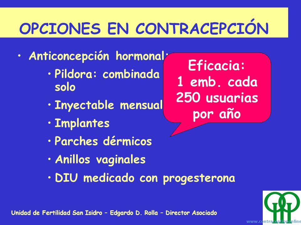 Unidad de Fertilidad San Isidro – Edgardo D. Rolla – Director Asociado OPCIONES EN CONTRACEPCIÓN Anticoncepción hormonal: Pildora: combinada o de prog